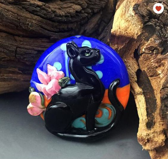 Egyptian Squib custom lampwork bead